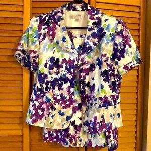 TAHARI Floral Skirt Suit Sz 8P